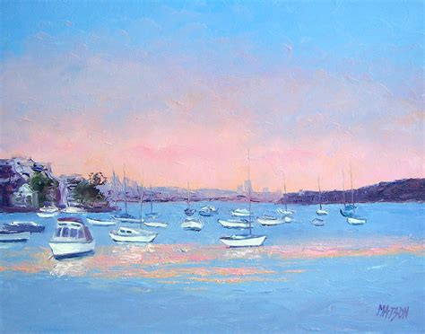 fishing at manly boat harbour boat haven at manly cove painting by jan matson