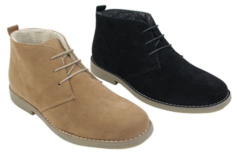 mens fleece lined boots mens suede leather desert winter boots black camel brown
