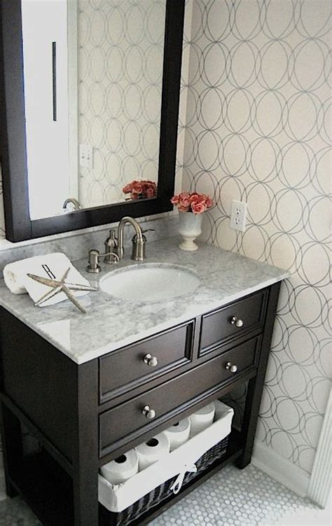 Powder Bathroom Vanities Graham Brown Darcy White Silver Wallpaper White Carrara Marble Counter Top White Carrara
