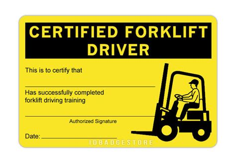 Forklift Certification Card Template Xls by 3 Pre Printed Certified Forklift Driver Id Card Ebay