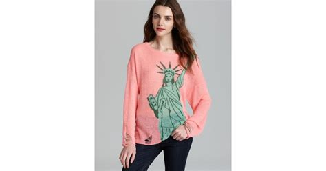 pink sweater lady liberty mutual lyst wildfox pullover statue of liberty lennon in pink