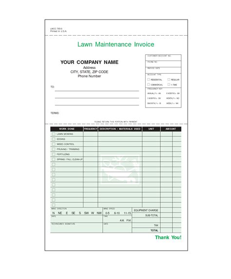 free lawn care invoice template lawn care invoice template word invoice exle