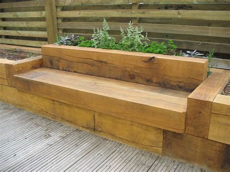 oak bench with raised flower beds for the home pinterest