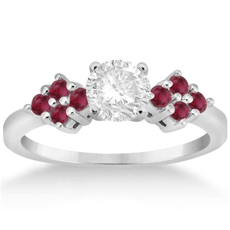 Ruby 5 35ct designer ruby cluster floral engagement ring 14k white