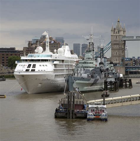 thames river shipyard cruise and historic warship river thames london uk