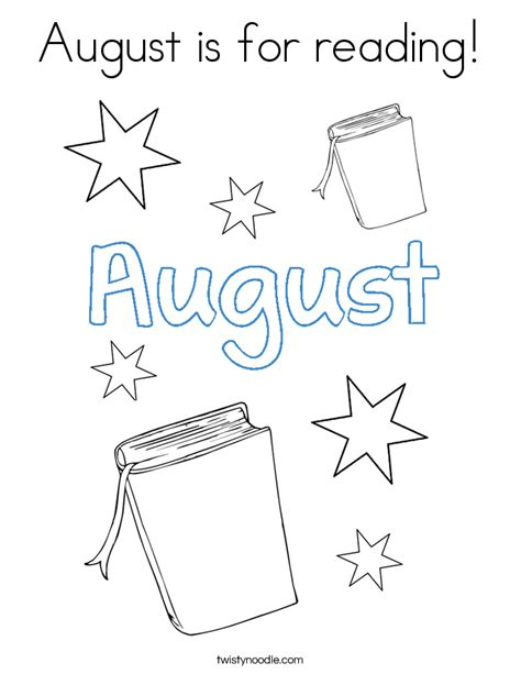 august is for reading coloring page coloring pages for