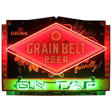 what were beer neon colors in the 50s and 60s 1950s porcelain neon sign quot drink grain belt on tap quot for sale at 1stdibs