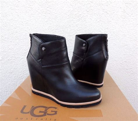 ugg amal black leather sheepskin 3 quot wedge ankle boots us