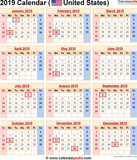 2019 Calendar With Holidays 2018 Calendar Printable 2019 Calendar Template Word