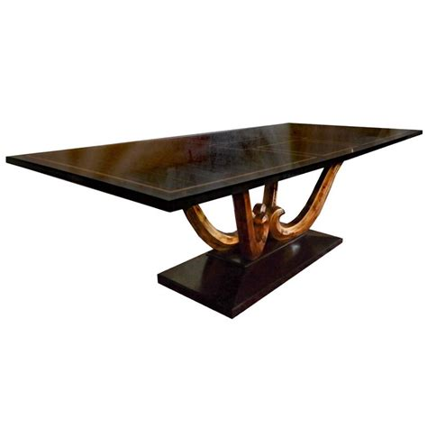 large wood dining table on pedestal base for sale at
