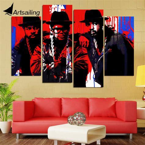 hip home decor canvas painting 4 panels canvas black hip hop singer