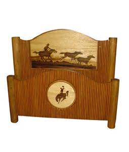 Rustic Cabin Kitchen - molesworth style rustic bed with horse and cowboy carving