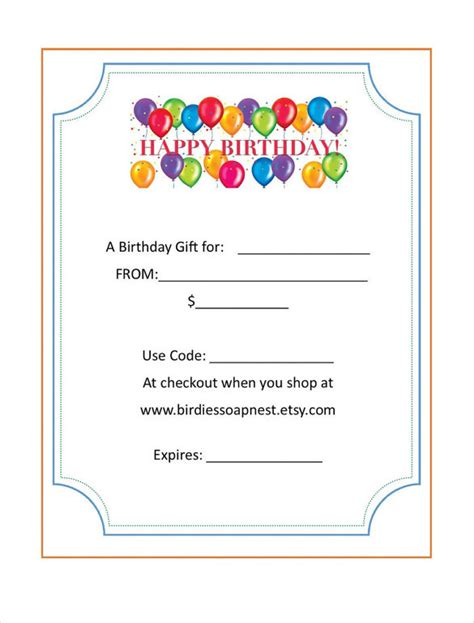 birthday gift card templates free birthday gift certificate templates 16 free word pdf