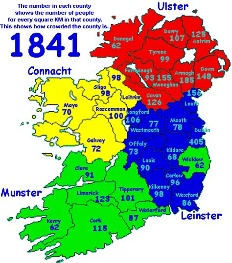 population map of ireland ireland counties listed by density of population in 1841