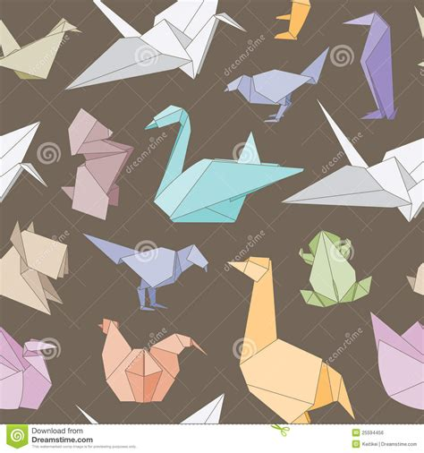 Folded Paper Animals - origami animals seamless pattern royalty free stock image