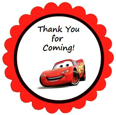 automobile thank you card template free disney cars favors