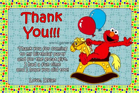 elmo thank you card template elmo invitations from general prints