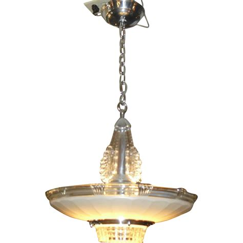Deco Lighting Fixtures Deco Chrome Glass Pendant Light Fixture From Rubylane Sold On Ruby