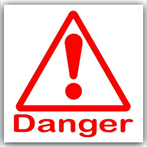 danger white 1 x danger symbol with text on white external self