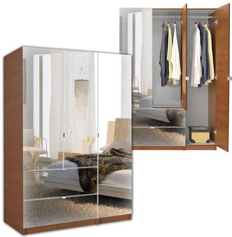 Mirrored Wardrobe Armoire by Alta Wardrobe Armoire 3 Door Armoire Right Opening