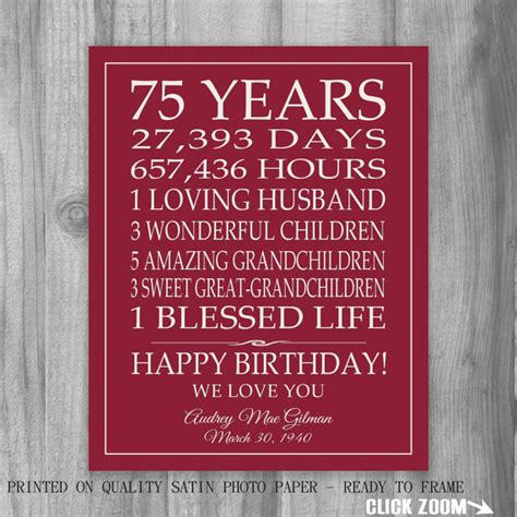 75th Birthday Quotes For 75th Birthday Gift Sign Print Personalized Art Mom Dad Grandma