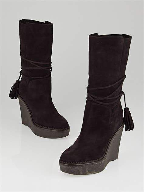 yves laurent chocolate suede yda 90 wedge boots size