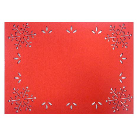 essential home snowflake border felt placemat home dining entertaining table linens