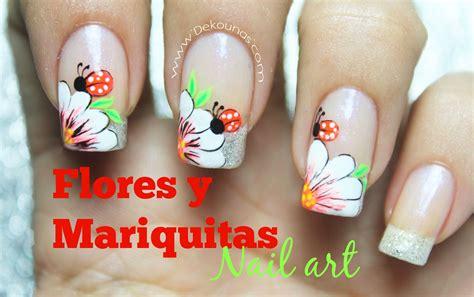 decoracion de unas decoraci 243 n de u 241 as flor y mariquita flower and bug
