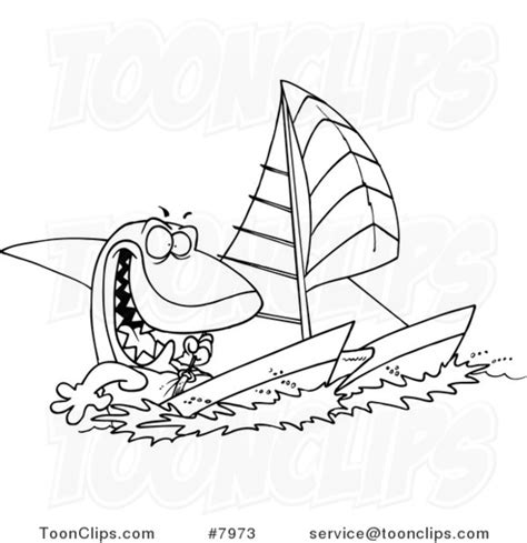 catamaran line drawings cartoon black and white line drawing of a shark sailing a