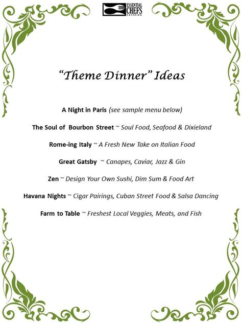 dinner menu ideas mccormick plated dinner party essential chefs catering