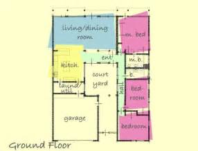 house plan rectangle with courtyard modern style house plan 3 beds 2 baths 1884 sq ft plan