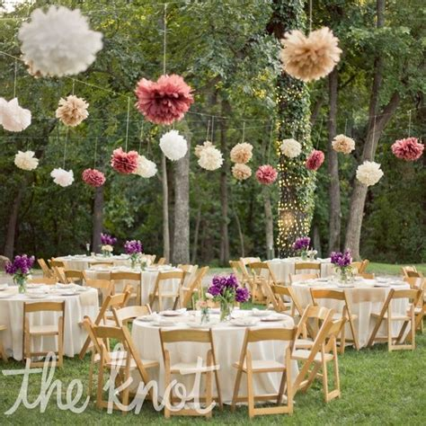 outside party ideas paper tissue pom poms decor for outdoor reception but