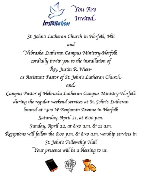 invitation letter to pastor appreciation service elca norfolk nebraska invitation to pastor justin s