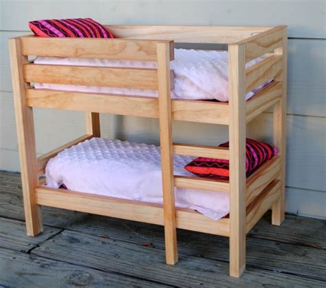 Handmade Bed - handmade stained wooden 18 inch doll bunk bed by bloomin