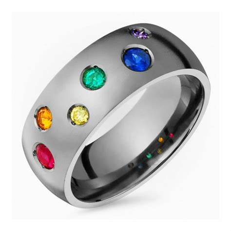 colored wedding bands titanium engagement band multi colored gemstone ring 8mm