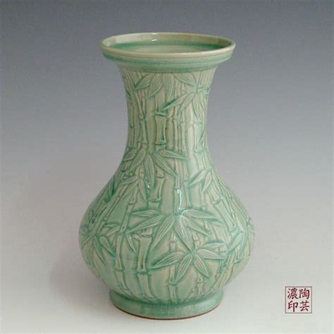 Bamboo Floor Vases by Bamboo Floor Vase Celadon Green Ceramic With Relief Design
