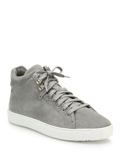 grey high top sneakers lyst rag bone kent suede high top sneakers in gray