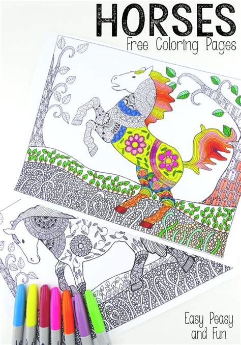 colouring book for adults intricate horses coloring pages for adults easy peasy
