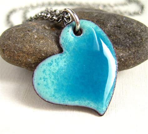 Valentines Heart Pendant Turquoise Enamel Necklace   Cinnamon Jewellery   Folksy   Craftjuice