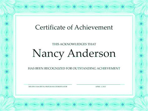 certificate of accomplishment bluish free certificate