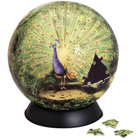 proud peacock  plastic piece sphere puzzle bits