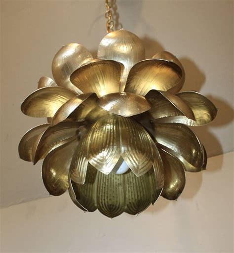 Large Rare Feldman Brass Lotus Chandelier Or Pendant At Large Pendant Chandelier