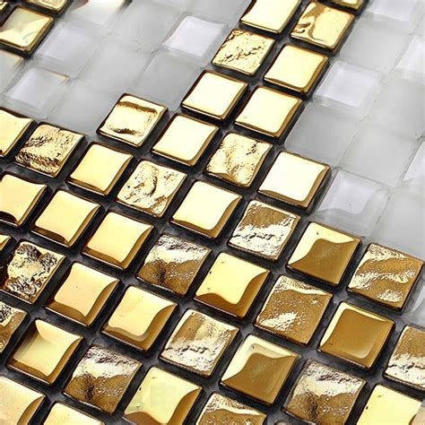 gold glass tile backsplash mosaic tile patterns 20x20mm gold glass tile