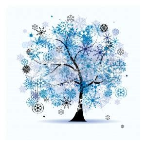 clipart inverno clip vector of winter tree snowflakes