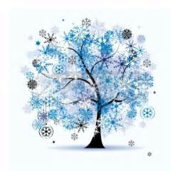 Clip art vector of winter tree snowflakes christmas holiday winter