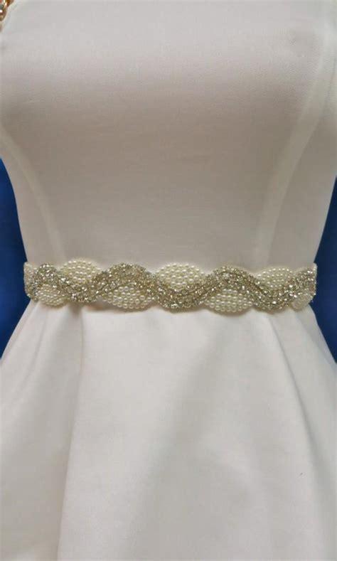 rhinestone pearl sash wedding gown accessory bridal