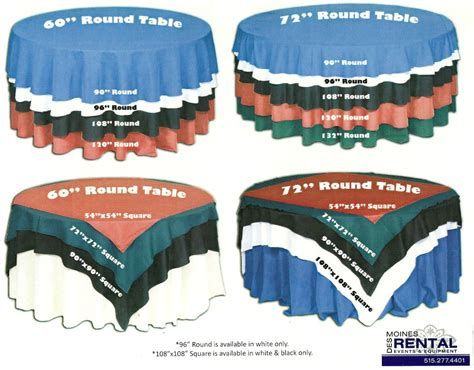 tablecloth for 42 round table des moines rental linen table cloth chart for round