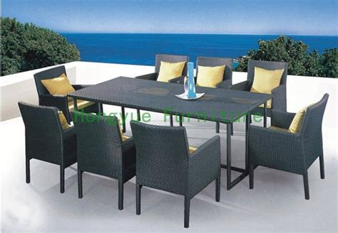 patio rattan dining set with cushion and glass wicker