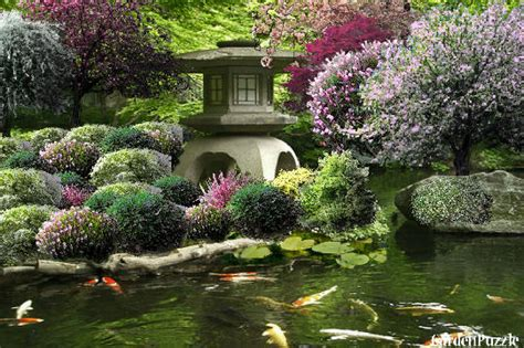 Korean Garden House and Koi Pond   GardenPuzzle   online