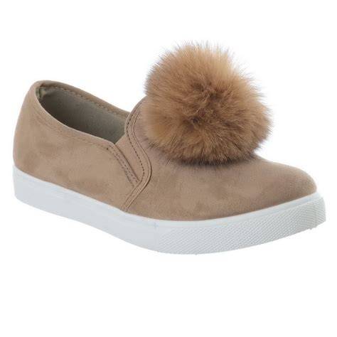 Fluppy Soes Womens Pom Pom Flat Heel Suede Loafers Pumps Fluffy
